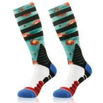 Basketball Socks, Hissox Unisex Patterned Cushioned Athletic Mid Calf Team Socks