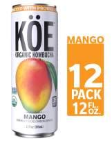 KÖE Organic Kombucha Cans, Mango, 12 Ounces, Pack of 12