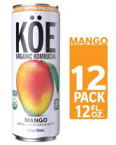 KÖE Organic Kombucha Cans, Mango, 12 Ounces, Pack of 12