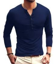 YTD Mens Casual Slim Fit Basic Henley Short/Long Sleeve Fashion T-Shirt