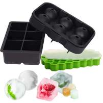 Ice Cube Trays Silicone Combo Mold, OAMCEG Sphere Ice Ball Maker with Lid & Large Square Molds & Mini 74 Ice Trays with Lid, Reusable and BPA Free Ice Cube Molds for Whiskey Storage,Cocktail,Beverages
