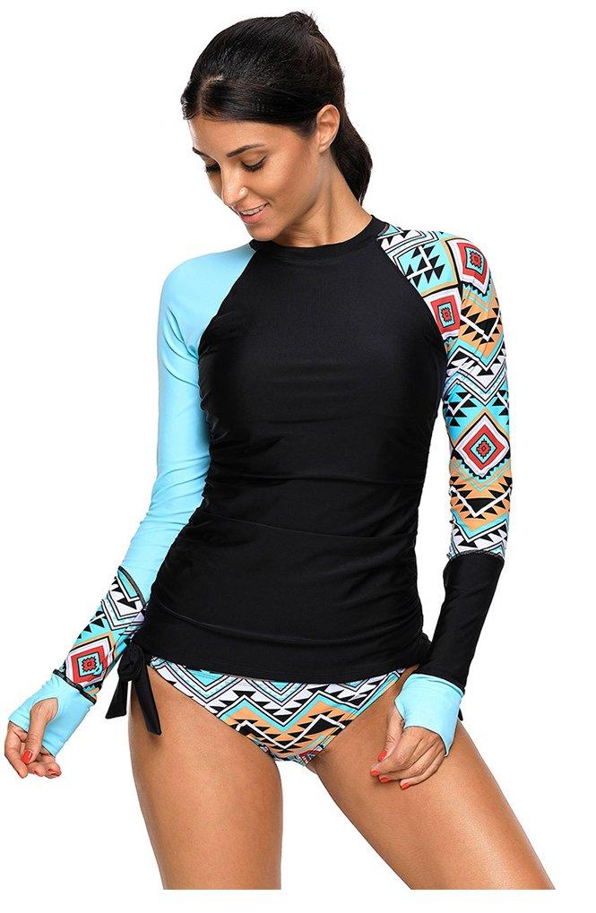 Obosoyo Womens Long Sleeve Rash Guard UPF 50+ Rashguards Plus Size Vibrant Print Tankini Swimsuit