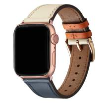 WFEAGL Compatible iWatch Band 42mm 44mm,Top Grain Leather Band with Gold Adapter(Same as Series 5/4/3 with Gold Aluminum Case in Color) for Series 5/4/3/2/1 (IvoryWhite/Indigo Band+Rosegold Adapter)