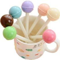 WIN-MARKET Fashion Cute Cool Novelty Candy Color Lollipops Decor Gel Ink Pen Office School Supplies Students Children Gift (Color May Vary) (8PCS)