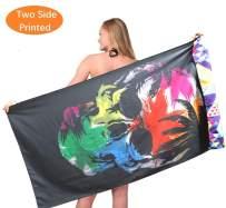 Skull Microfiber Sand Free Beach Towel-Fast Dry Super Absorbent Thin Lightweight Towel Blanket for Travel Pool Swimming Bath Girl Women Men Teen Colorful Geometric Kaleidoscope