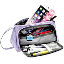 Samaz Pen Bag Pencil Case Large Capacity Canvas Pencil Bag Pouch Stationary Case Makeup Cosmetic Bag (Purple)