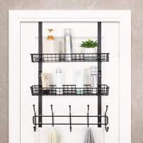 Over The Door 5 Hook Shelf Organizer Hanger Coat Rack Spice Rack with 2 Mesh Basket Storage Rack Rustproof for Bathroom Kitchen Storage Shelves, Brown