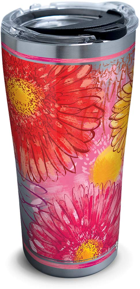 Tervis 1319567 Colossal Daisy Stainless Steel Insulated Tumbler with Lid, 20 oz, Silver