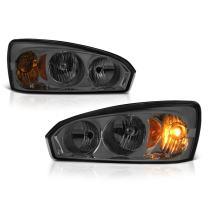 VIPMOTOZ Chrome Smoke OE-Style Headlight Headlamp Assembly For 2004-2007 Chevy Malibu & 2008 Classic Model, Driver & Passenger Side