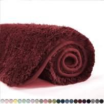 Suchtale Bath Rug for Bathroom Non Slip Bathroom Mat (20 x 32, Red) Water Absorbent Soft Microfiber Shaggy Bathroom Rug Machine Washable Bath Mat for Bathroom Thick Plush Shower Mat