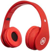 Mokata Kids Headphone Bluetooth Wireless Over Ear Foldable Stereo Sound Headset with AUX 3.5mm Jack Cord SD Card Slot, Built-in Mic Microphone for Boys Girls Cellphone TV PC Game Equipment B01 Red