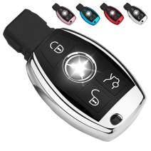 QBUC Key Fob Cover, Key Fob Case for C E M S CLS CLK GLK GLC G Class, TPU Full Protection Key Fob Shell Compatible Keyless Smart Key Fob(Sliver)