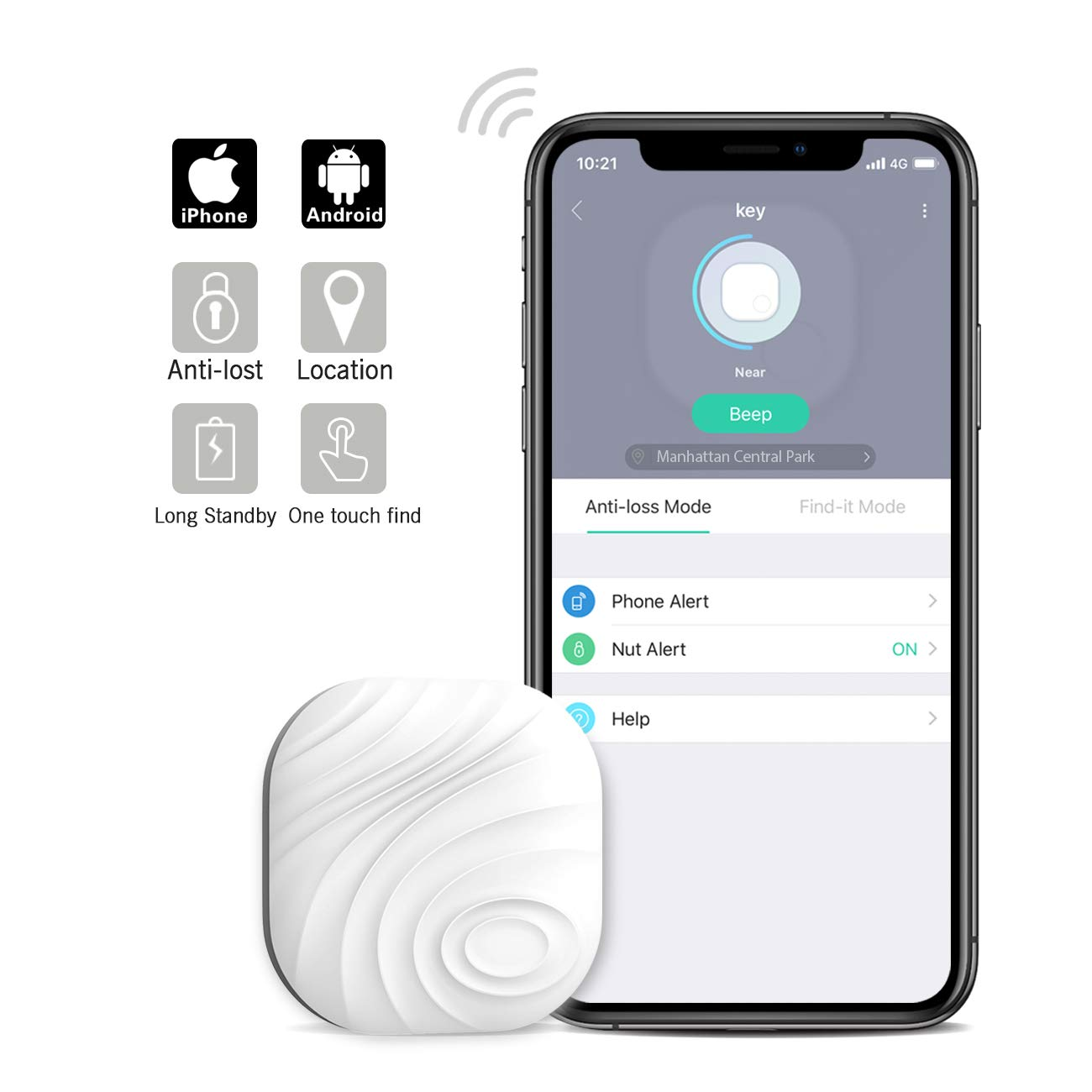Nutale Nut3 Key Finder Locator (Pack of 1) – Smart Bluetooth Item Tracker & Finder Device for Wallet, Phone, Pets, Dogs, Cats - Anti-Lost Bidirectional Alarm Reminder - Replaceable Battery - White
