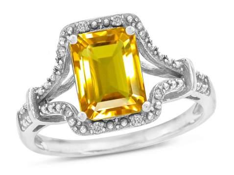 Star K 10k White Gold Octagon Emerald Cut 8x6 Vintage Antique Look Split Shank Ring