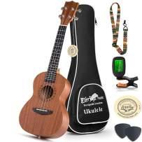 Concert Ukulele Mahogany - 23 inch Professional Wooden Ukulele Free Uke Strap Case Digital Tuner picks Aquila String