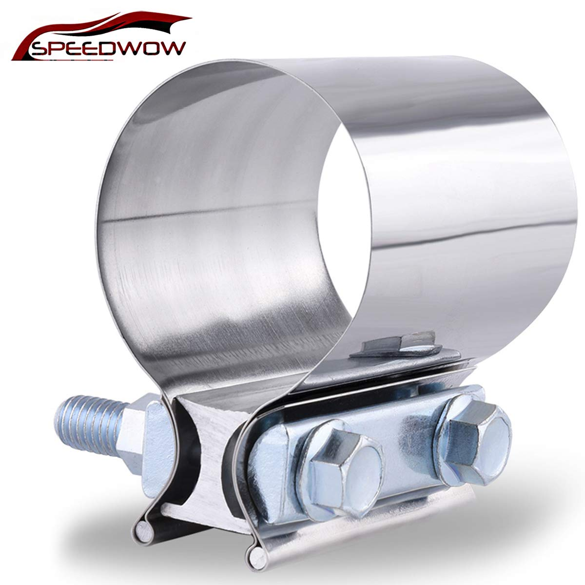 """SPEEDWOW 2.25"""" Butt Joint Exhaust Band Clamp Sleeve Stainless Steel"""