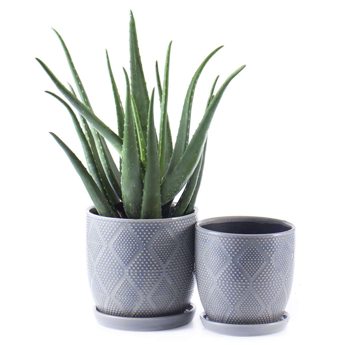 "KYY Ceramic Planters Garden Flower Pots with Drainage Holes and Saucers 6.5"" and 5.5"" Set of 2 Indoor Outdoor Modern Plant Containers (Blue Grey)"