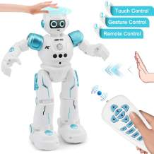 YITOOK Robot Toys for Kids - Rc Smart Programmable Remote Control Robots Rechargeable with Gesture Sensing,Walking,Talking,Singing,Dancing - Intelligent Toy Gift for Boys Girls (Blue)