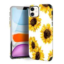 CUSTYPE Case for iPhone 11, iPhone 11 Case Floral Sunflower Flower Design Girls Women Leather Bumper Soft TPU Shockproof Protective Cover for iPhone 11 6.1''