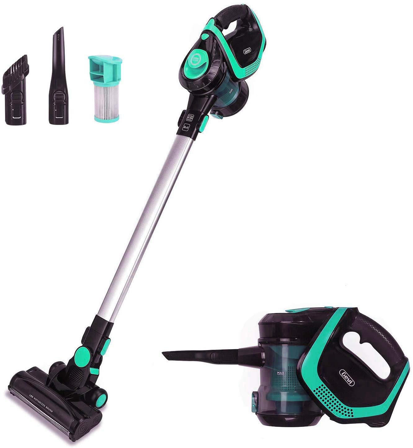 2 in 1 Upright Stick and Handhold Powerful Suction Vacuum Cleaner with Cordless Design and HEPA Filter, Lightweight and Rechargeable Wall Mounted Design (Green) (Geen-Black)