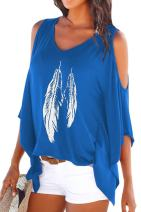Dellytop Women's Cold Shoulder Tops Feather Print Oversized Batwing Short Sleeve T Shirts