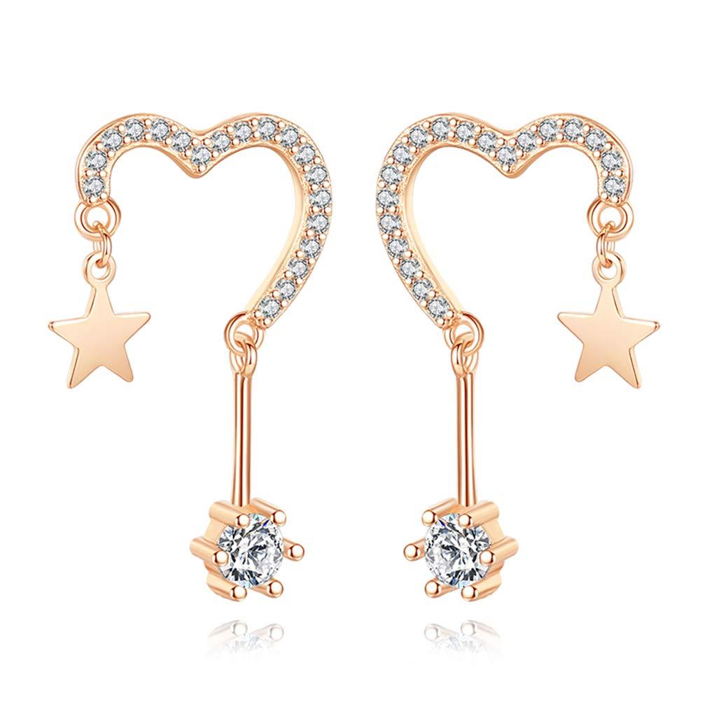 Reffeer Love Heart Earrings Star Sterling Silver Stud Earrings CZ Tassel Earrings for Women Teens
