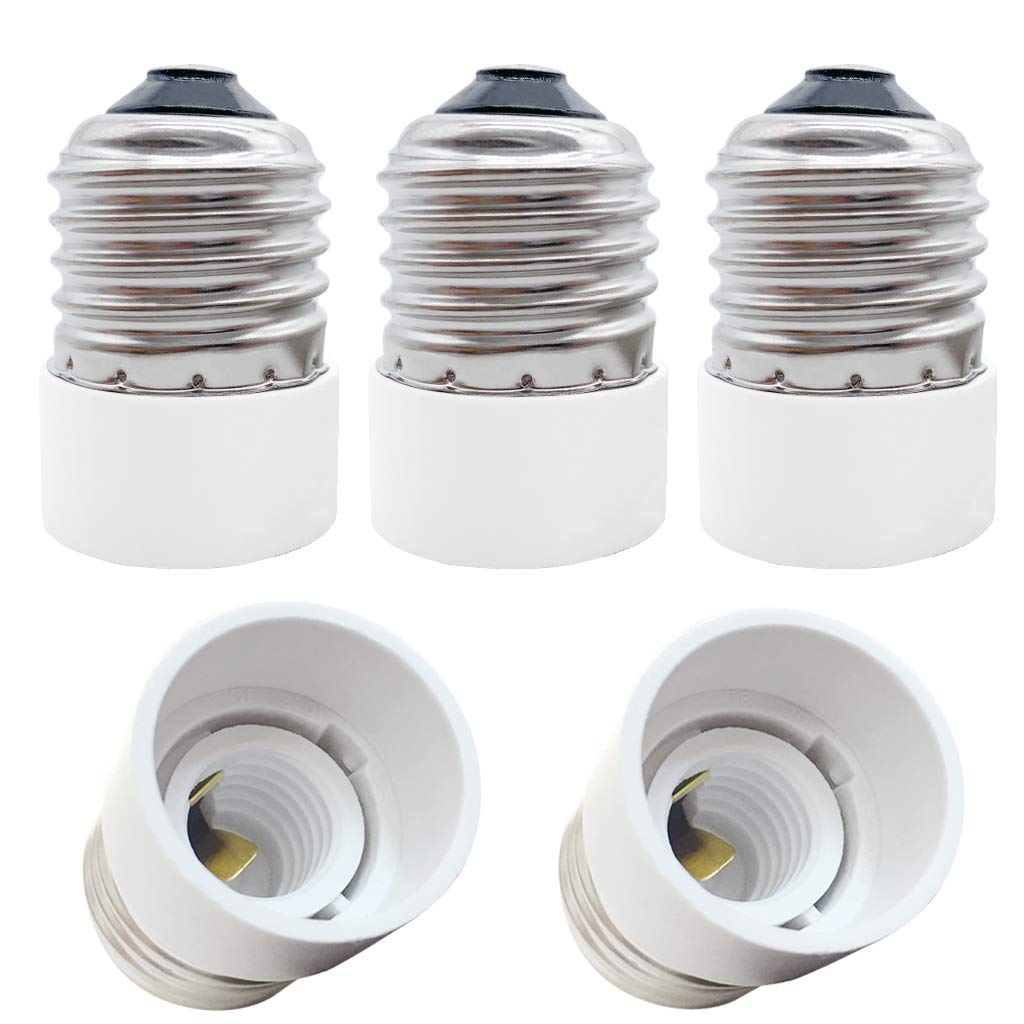 YAYZA! 5-Pack E26 E27 to E12 Bulb Base Adapter, Medium Edison Screw to Candelabra Light Socket Converter, Heat Resistant Up to 200℃ No Fire Hazard