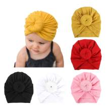 DRESHOW Turban Hat for Baby Infant Cap Hats with Bow Knot Soft Cute Nursery Beanie