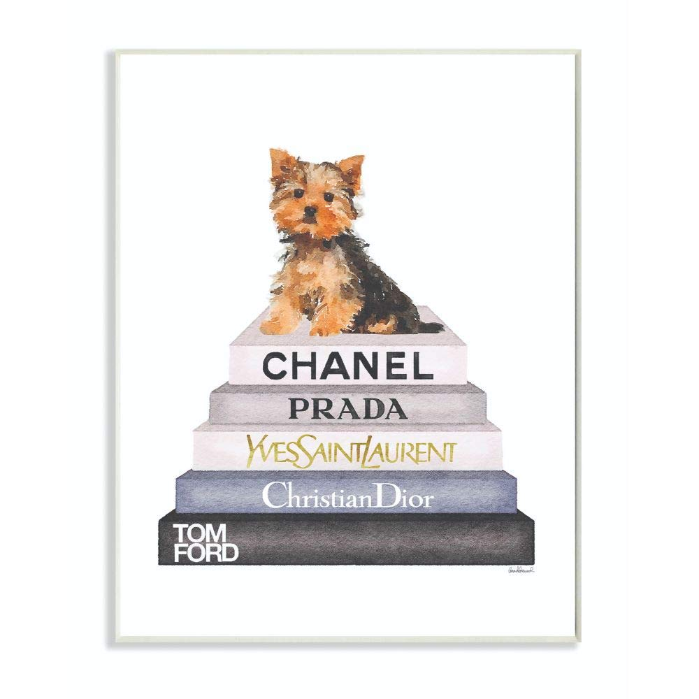 Stupell Industries Book Stack Yorkie Dog Glam Fashion Watercolor Wall Plaque, 10 x 15, Design by Artist Amanda Greenwood
