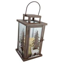 Pine Ridge Deer LED Candle Lantern Lights Decorative - Metal Square Holder Table top & Hanging Lantern for Indoor Outdoor 3AAA Battery Operated | Flameless | Halloween and Christmas