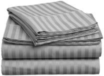Lux Decor Collection Bed Sheet Set - Brushed Microfiber 1800 Bedding - Wrinkle, Stain and Fade Resistant - Hypoallergenic - 4 Piece (Queen, Striped Dark Grey)