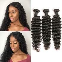 DAIMER Brazilian Deep Wave 3 Bundles 8 10 12 Inch Unprocessed 10A Brazilian Hair Bundles 100% Human Hair Weave Natural Color