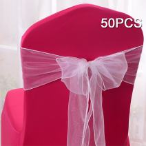 10/20/50/100pcs Organza Chair Sashes Bows Ribbons Covers for Wedding Supplies Events Party Reception Banquet Decoration Elegant 10 Colors (50, White)