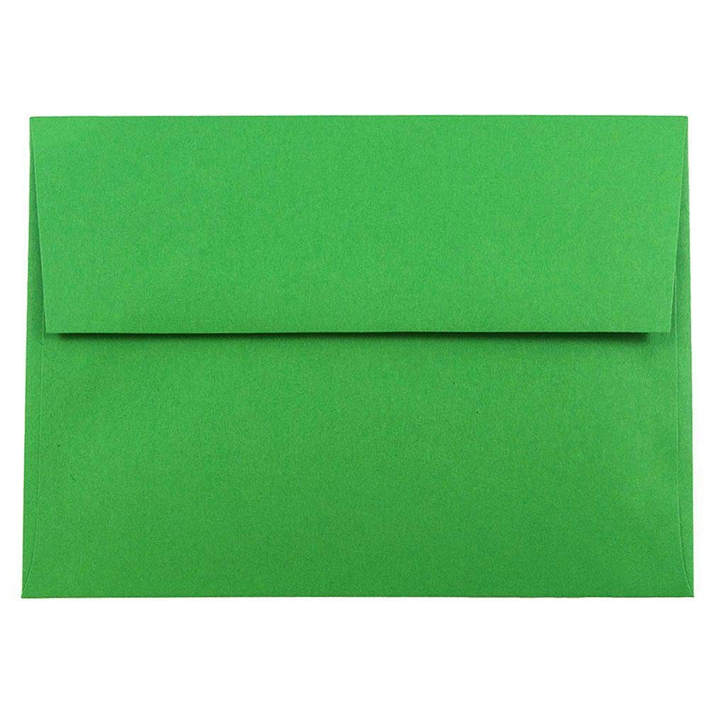 JAM PAPER A7 Colored Invitation Envelopes - 5 1/4 x 7 1/4 - Green Recycled - 100/Pack