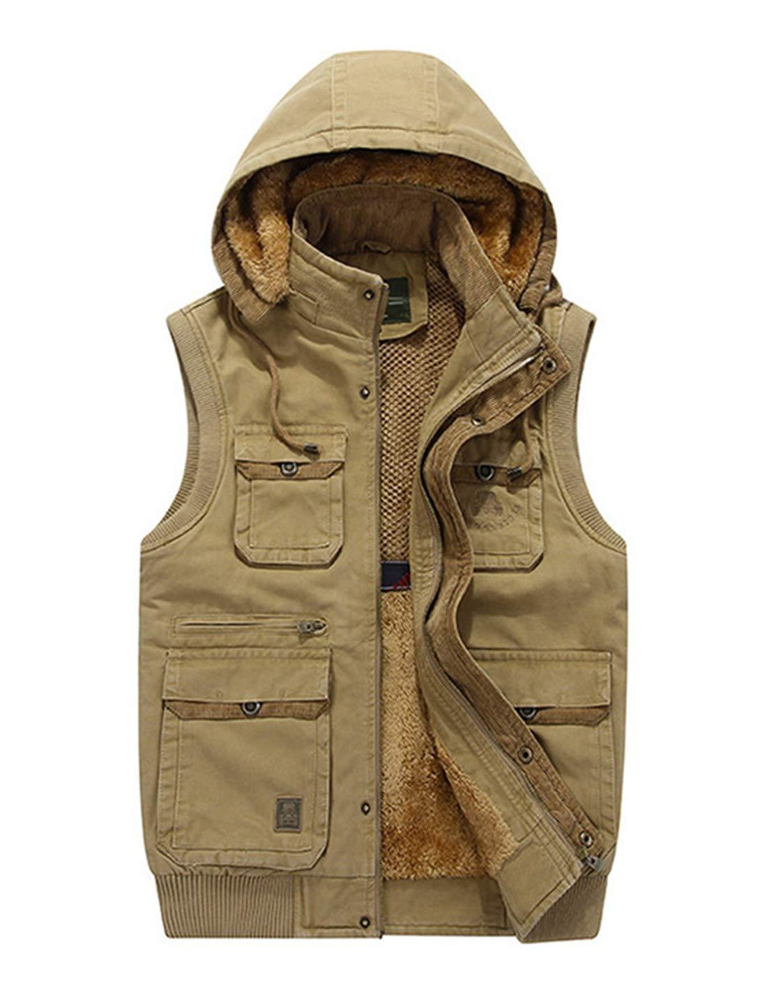 Gihuo Men's Winter Outdoor Fishing Vest Sherpa Fleece Lined Vest Jacket