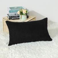 Artscope Cozy Striped Corduroy Pillow Covers Super Soft Decorative Oblong Throw Pillow Covers Case Cushion Covers for Sofa Couch Bedroom Car Decor 12 x 20 Inches, Black