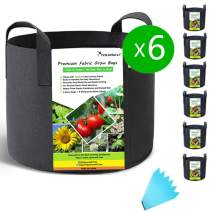 SYOURSELF 6 Pack 10 Galllon Grow Bags, Aeration Fabric Pots with Handles-400GSM Non-Woven Durable Thickened Plant Containers for Nursery Garden Home Vegetable, Fruit, Tree+6 Waterproof Labels(Black)