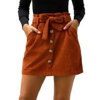 Amormio 💘 Women's Chic Self Tie Waist Corduroy Faux Suede Button-Down Short Mini A-Line Belted Skirt
