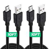 2 Pack 10Ft PS4 Controller Charging Cable, Play and Charge Micro USB Charger High Speed Data Sync Cord for Sony Playstation 4 PS4 Slim/Pro Controller, Xbox One S/X Controller, Android