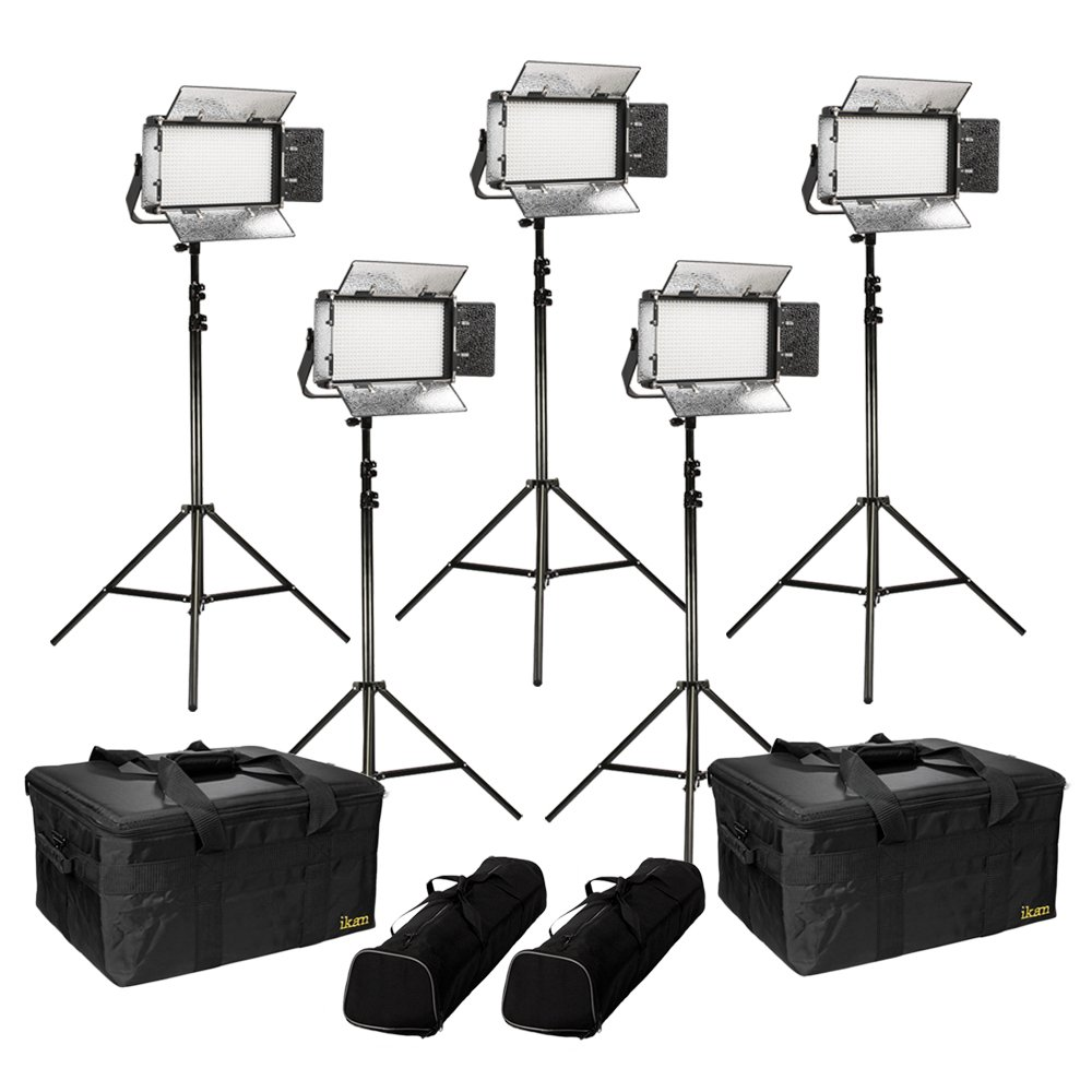 Ikan Rayden (5X) Half x 1 Bi-Color 3200K-5600K Adjustable Studio/Field LED Light with Gold & V-Mount Battery Plate, Barndoors, Stands and Case Included (RB5-5PT-KIT) - Black
