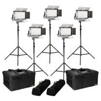 Ikan Rayden (5X) Half x 1 Bi-Color 3200K-5600K Adjustable Studio/Field LED Light with Gold & V-Mount Battery Plate, Barndoors, Stands and Case Included (RB5-5PT-KIT) - Black