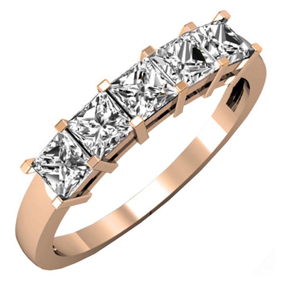 1.00 Carat (ctw) 14k Gold Princess Cut Diamond Ladies 5 Stone Bridal Wedding Band Anniversary Ring 1 CT
