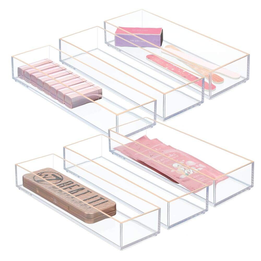 mDesign Stackable Plastic Drawer Organizer Storage Bin Tray - Holder for Craft, Sewing, Hobby, Art Supplies in Home, Classroom, Studio - 6 Pack - Clear/Rose Gold