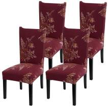 YISUN Stretch Dining Chair Covers Removable Washable Short Dining Chair Protect Cover for Hotel,Dining Room,Ceremony,Banquet Wedding Party (Red, 4 PCS)