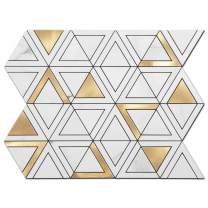 Soulscrafts Peel and Stick Tile Backsplash PVC White Marble Stone with Gold Metal Triangle Tile for Kitchen Backsplash Bathroom Wall (5-Pack)