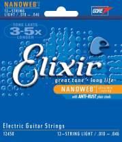 Elixir Strings 12-String Electric Guitar Strings w NANOWEB Coating, Light (12450)