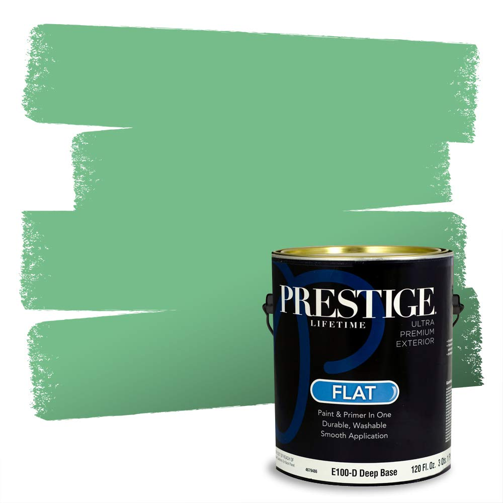 Prestige, Greens and Aquas 4 of 9, Exterior Paint and Primer In One, 1-Gallon, Flat, Green Gulf