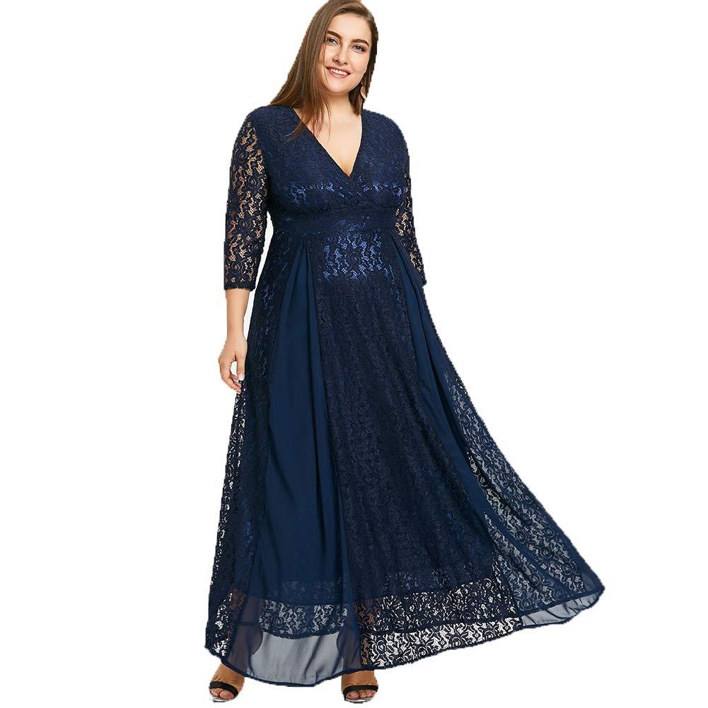 KUREAS Womens Floral Lace 2/3 Sleeves Maxi Dress V Neck Plus Size Evening Party Long Dress Blue