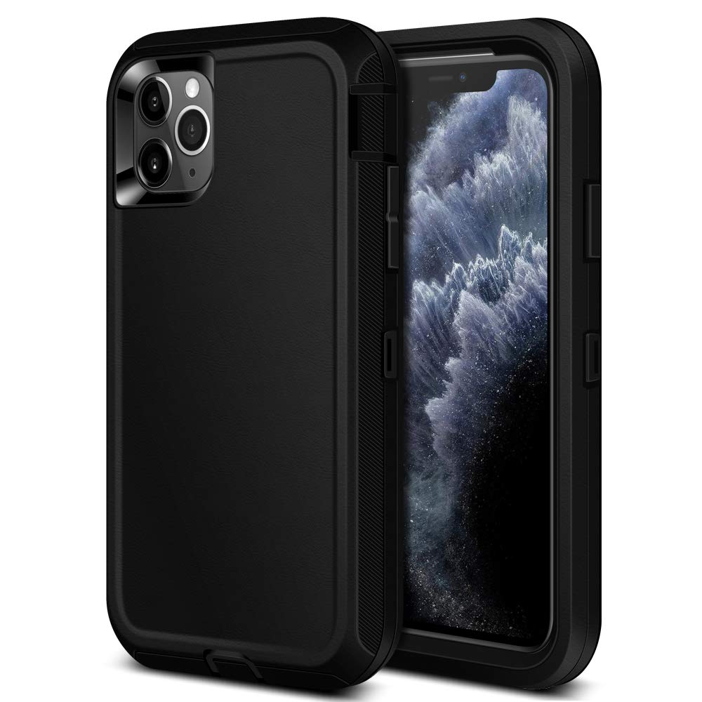 Jiunai iPhone 11 Pro Case, Heavy Duty Outdoor Sports Tough Drop Protection Shockproof Anti Scratch Dual Layer Soft TPU Armor Strong Rugged Cover Matte Case ONLY for iPhone 11 Pro 5.8 inches 2019 Black