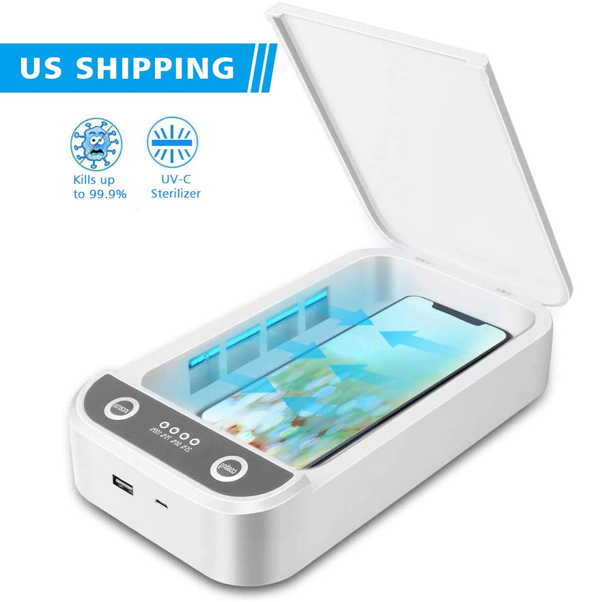 FCNEHLM Cell Phone Clean Case - Portable UV Phone Cleaner Box with USB Charging, Aromatherapy Function Disinfector, Cell Phone Cleaners for All iOS Android Smartphones (White)